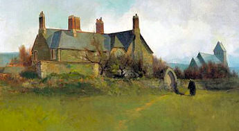 Painting of the Vicarage as it looked in the 19th Century, with St. John's Church in the background